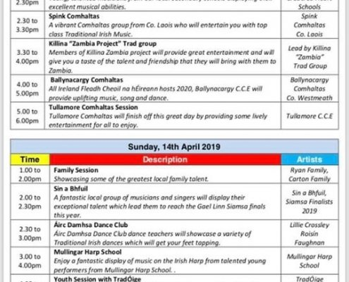 The Suspense FREE FAMILY ENTERTAINMENT for Tullamore TradFest check out the timetable below!