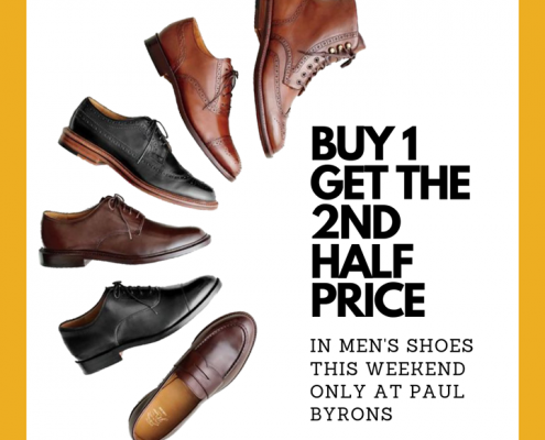**BUY 1 GET THE 2ND HALF PRICE IN MEN'S SHOES THIS WEEKEND ONLY AT…