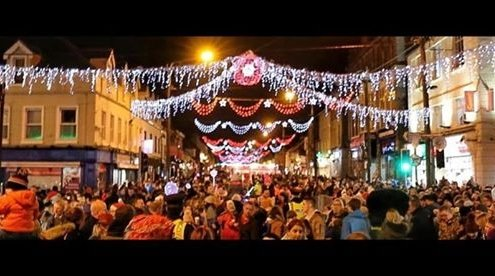 The Big Switch on.  Tullamore Christmas Lights 2019